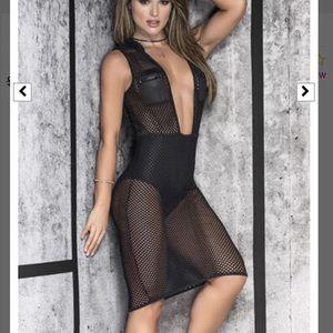 Black mesh sheer dress